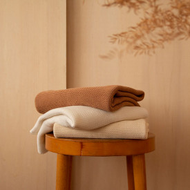 Couverture en tricot So Natural - Biscuit Marron / Taupe Nobodinoz