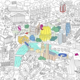 Coloriage géant Londres Blanc OMY Design & Play