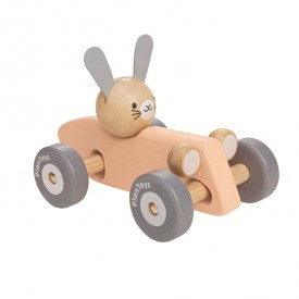 Voiture de course Lapin - Rose  Rose Plantoys