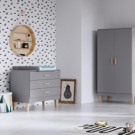 Commode 3 tiroirs Lounge - Gris Clair Gris Vox