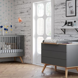 Commode 3 tiroirs Nature - Anthracite Gris Vox