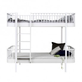 Lit superposé Wood - Echelle face - Blanc Blanc Oliver Furniture