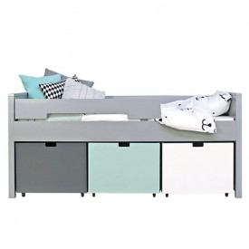 Kompaktes Bett Timo 90 x 200 cm Mix & Match - Pure Grey