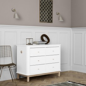 Kommode 6 Schubladen Wood - Eiche Weiss Oliver Furniture