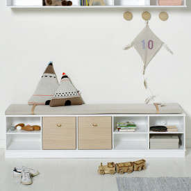 Wood Regal 5 x 1 Weiss Oliver Furniture