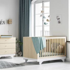 Babybett 70 x 140 cm Playwood - Birke / Weiss Natural Vox