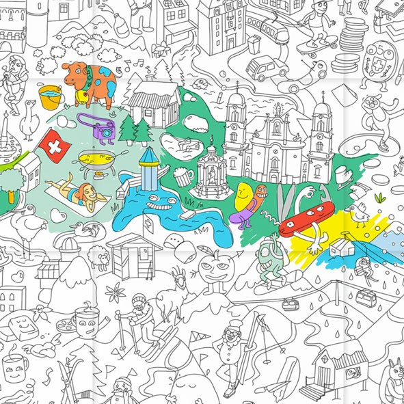 Giant Coloring Poster - Switzerland - OMY Design & Play | MyLittleRoom