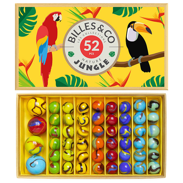 Box of 52 marbles - Jungle Yellow Multicolour Billes and Co
