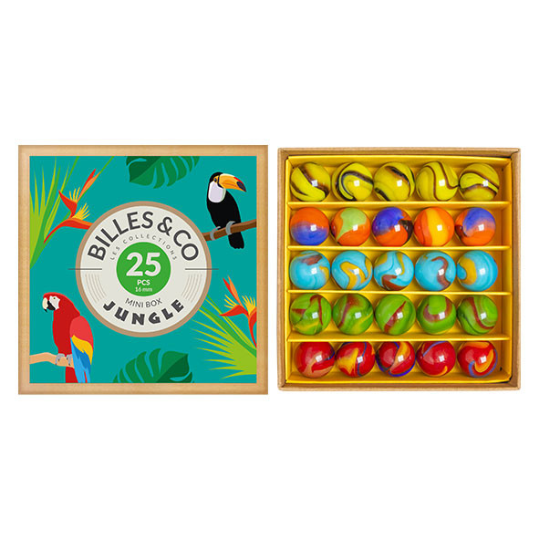 Box of 25 marbles - Jungle Multicolour Billes and Co
