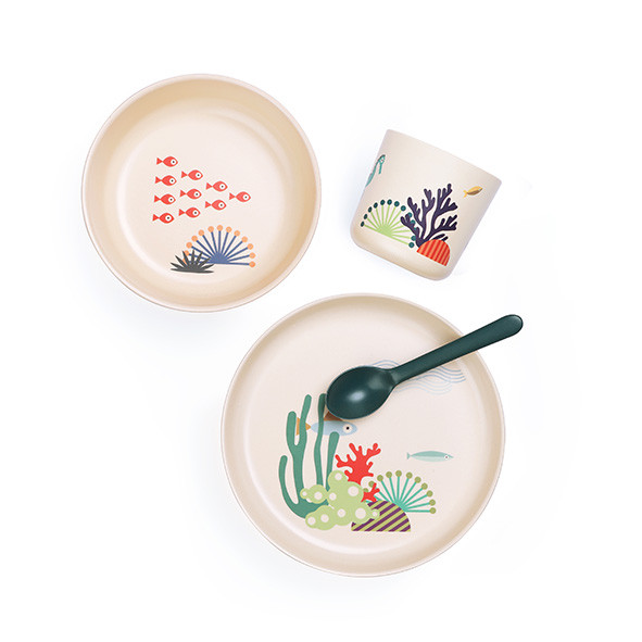 Bambino dish set for kids - Seas  Multicolour Ekobo