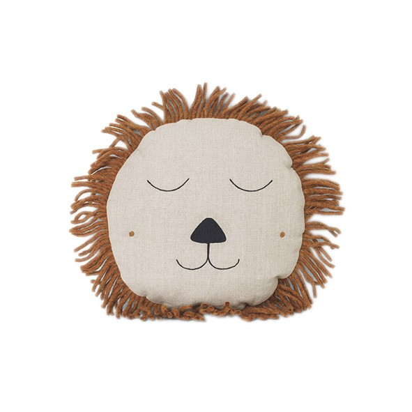 Safari Cushion Lion - Natural Grey Ferm Living Kids