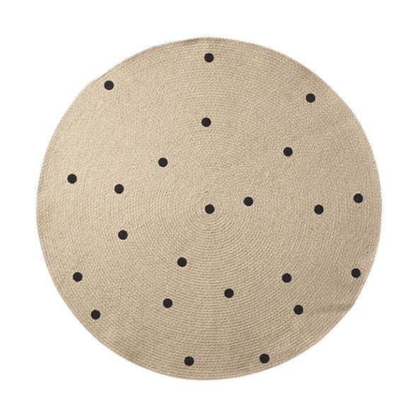Jute Round Carpet - Black Dots Nature Ferm Living Kids