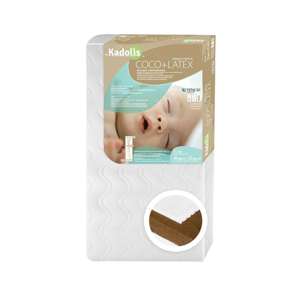 Natural Coco & Latex Baby Mattress 70x140cm White Kadolis