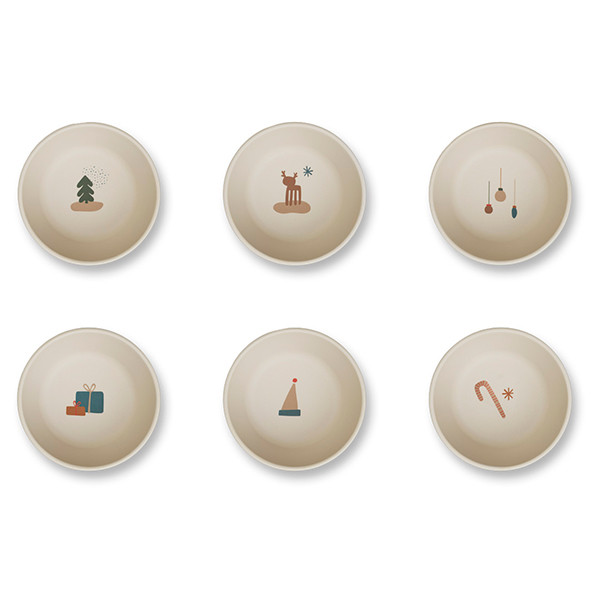 Set of 6 bamboo bowls - Holiday Mix Multicolour Liewood
