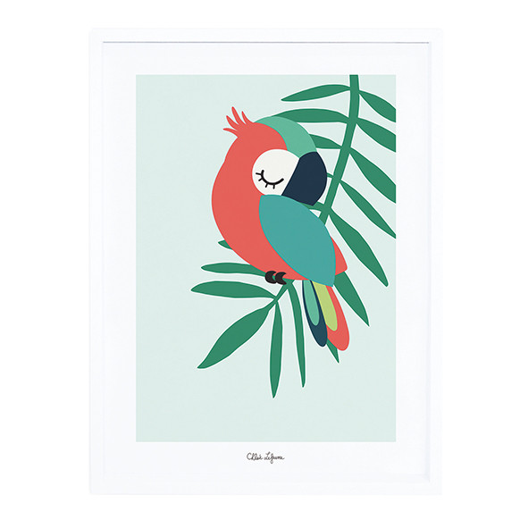 Framed Art Print Tropical Parrot Green (30x40cm) Green Lilipinso