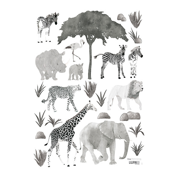 Wallstickers Animaux Sauvages (A3) Black Lilipinso