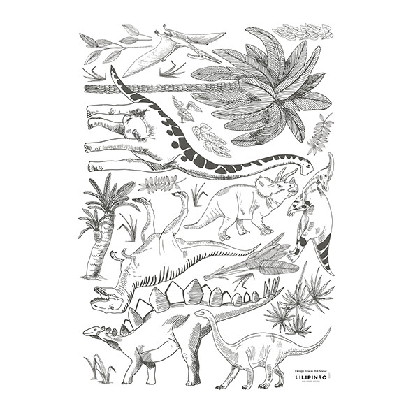 Wallstickers Dinosaurs and Plants (A3) Black Lilipinso