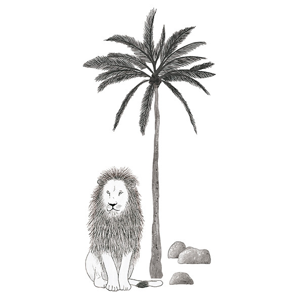 Wallstickers Lion and Tree (59x126cm) Black Lilipinso