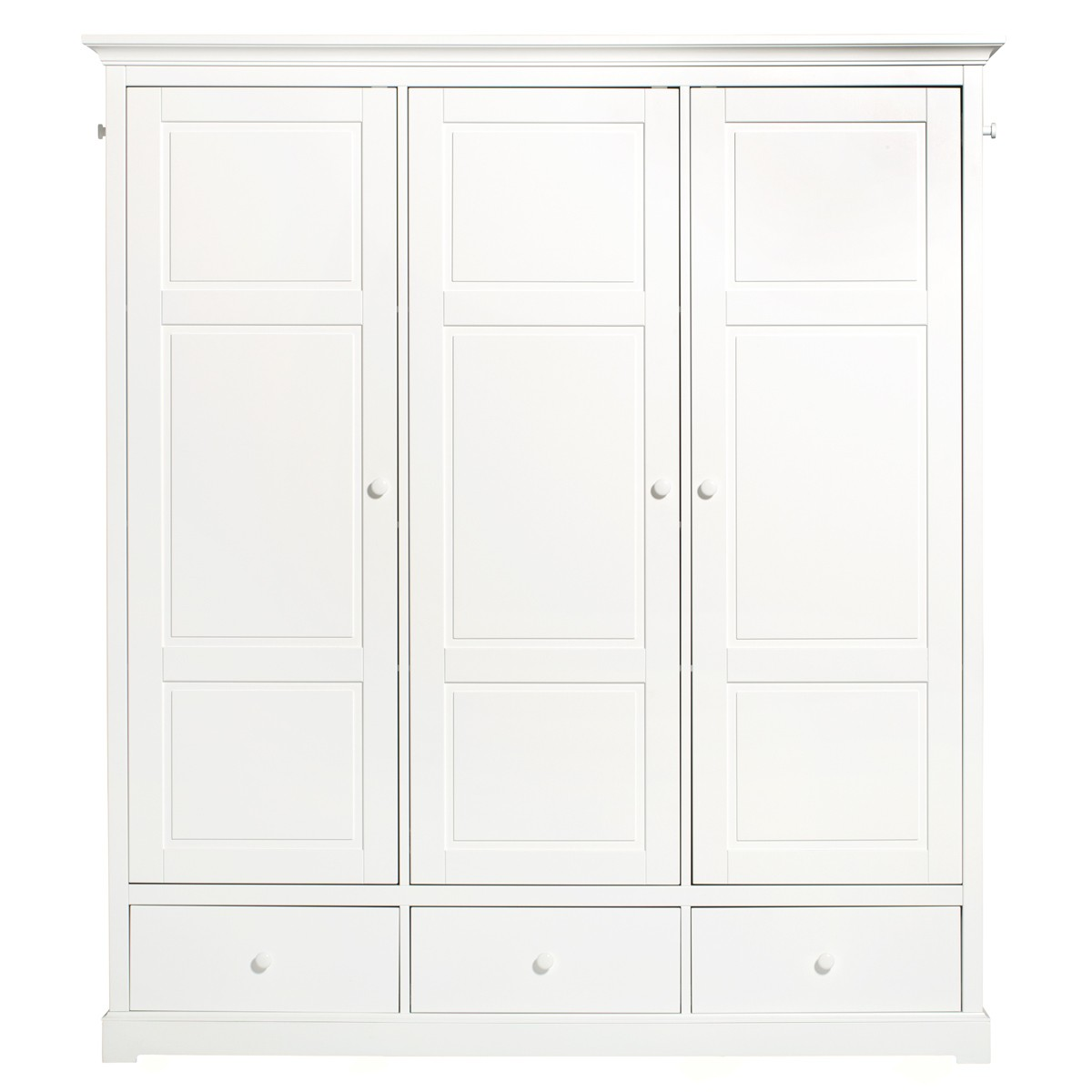 Wardrobe 3 Doors Seaside (H: 195cm) White Oliver Furniture
