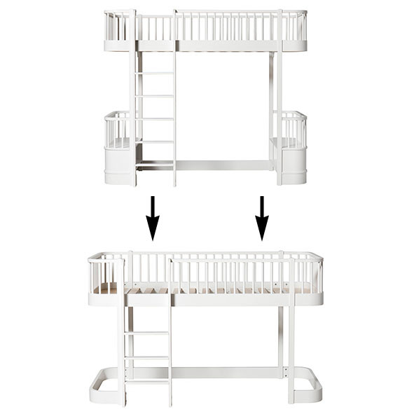 Wood Conversion Kit - Loft bed to low loft bed - White White Oliver Furniture