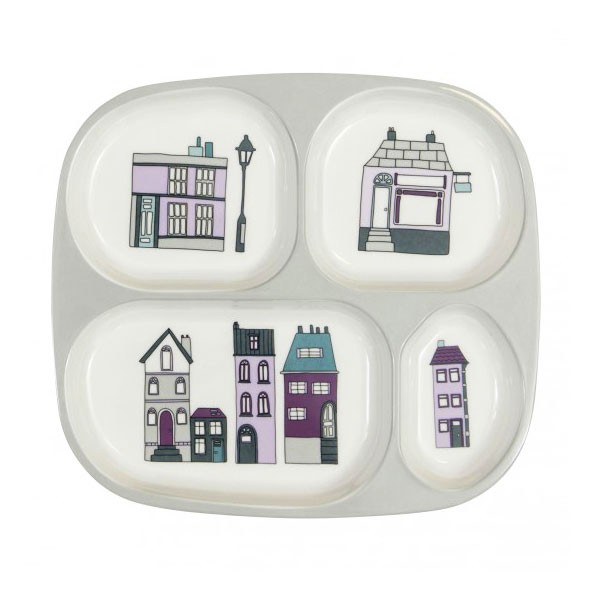 4 Compartments Plate - Village - Purple Purple Sebra