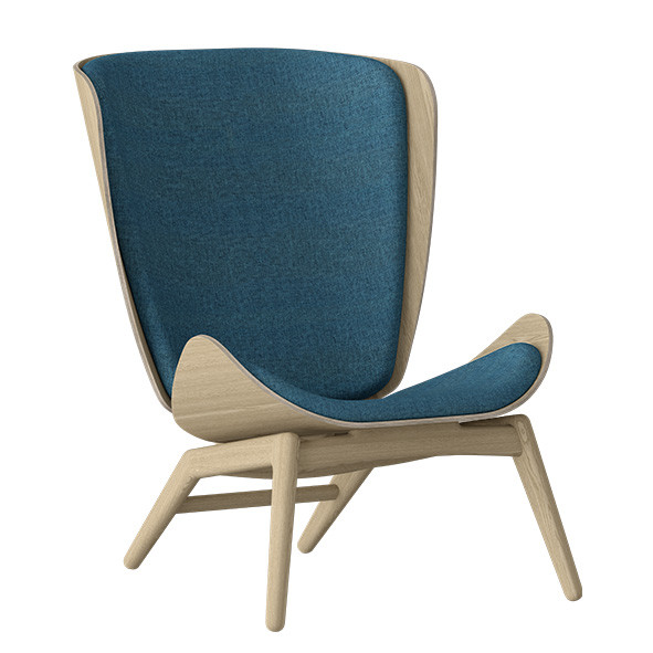 The Reader Wing Chair - Oak / Petrol Blue Nature Umage