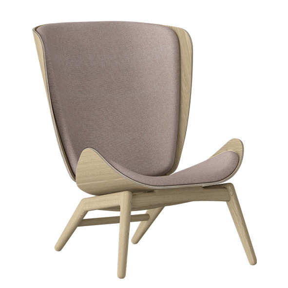 The Reader Wing Chair - Oak / Dusty Rose Nature Umage