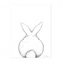 Art Print Bunny From The Back (30x40cm) White Lilipinso
