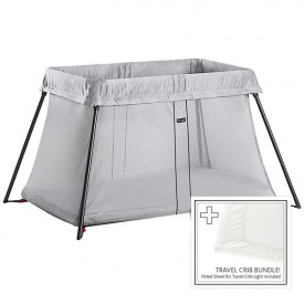 Travel Cot Easy Go Bundle - Silver