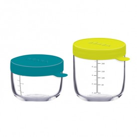 Set of 2 Superior Portions Glass - Blue / Neon