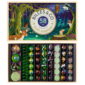 Box of 58 marbles - Fantastic Forest