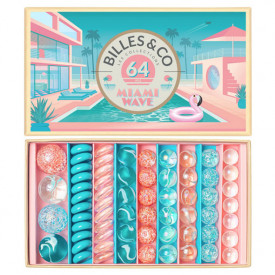 Box of 64 marbles - Miami Wave