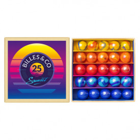 Box of 25 marbles - Sunset