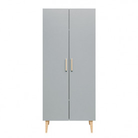 2 doors Wardrobe Emma - White/grey