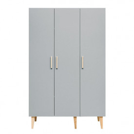 3 doors Wardrobe Emma - White/grey