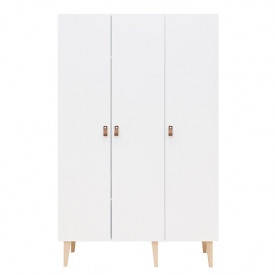 3 doors Wardrobe Indy - White/natural