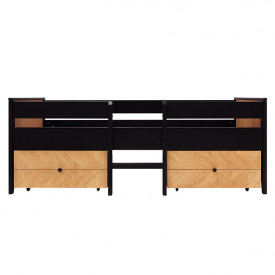 Compact Bed 90x200cm Job with 2 drawers - Vintage Honey