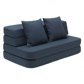 Sofa 3 Fold (120cm) - Dark Blue / Black