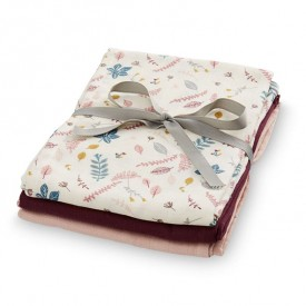 Muslin Cloth - 3 Pack - Mix Pressed Leaves Rose