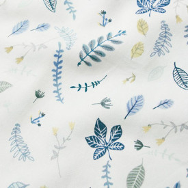 Fitted Sheet 70 x 140 cm - Pressed Leaves Blue