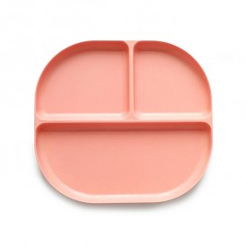 3 compartments plate Bambino - Coral