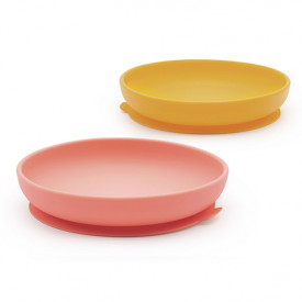 2 pack suction plate silicone - Coral / Mimosa