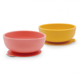 2 pack suction bowl silicone - Coral / Mimosa