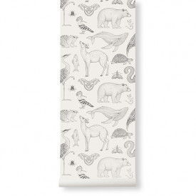 Katie Scott Wallpaper - Animals - Off-White