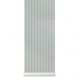 Wallpaper Thin Stripes - Dusty Blue / Off-White