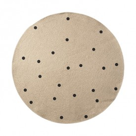 Jute Round Carpet - Black Dots