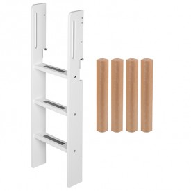 Conversion kit mid-high bed - Straight ladder - White / Birch