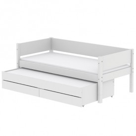 White Trundle Bed 90x200cm w/ drawers - White