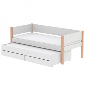 White Trundle Bed 90x200cm w/ drawers - White / Birch