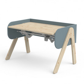 Tilting Desk WOODY - Natural/Frosty Blue
